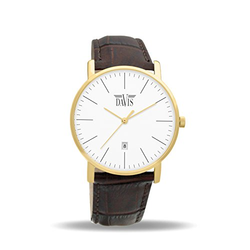 Davis 1994 - Mens Womens Design Watch Classic Yellow Gold Ultra Thin Case White Dial Date Brown leather Strap