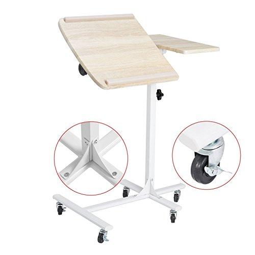 Coavas Table de Lit pour Ordinateur portable Réglable en Hauteur sur 5 Niveaux avec Roues - Couleur Hêtre