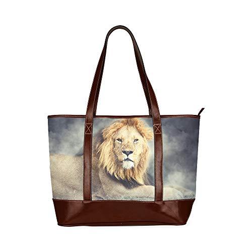 QIAOLII Schließen Sie männlichen Löwen-Rauch auf Dunkelheit über den Umhängetaschen Mode-Umhängetasche Große Kapazität Bedruckte Frauentasche Mit Reißverschluss Oberer Griff