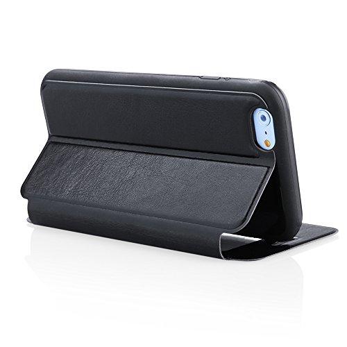 handy-point Flexi Wallet Case Buchhülle Tasche Hülle in Buchform Schutzhülle Flip Case mit flexibler Gummischale, Aufstellfunktion und Sichtfenster für iPhone 6 6S, 4.7 Zoll, Rot Schwarz