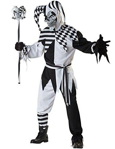 Clown Böser Halloween Kostüm (Böser Clown Harlekin Halloween Kostüm schwarz-weiss)
