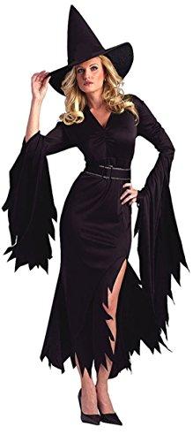 aimerfeel Frau schwarze lange Hexe böse Königin Halloween oder Motto Party + hat Kostüme Cosplay, Größe M (Tanz Königin Kostüme Böse)