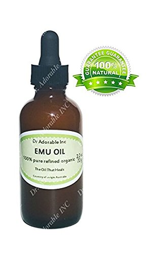 Emu Oil 100% Pure Organic Moisturizing Oil For Face Skin Hair Growth Stretch Marks And More Fully Refined 2 Oz Glass Amber Bottle with Glass Dropper