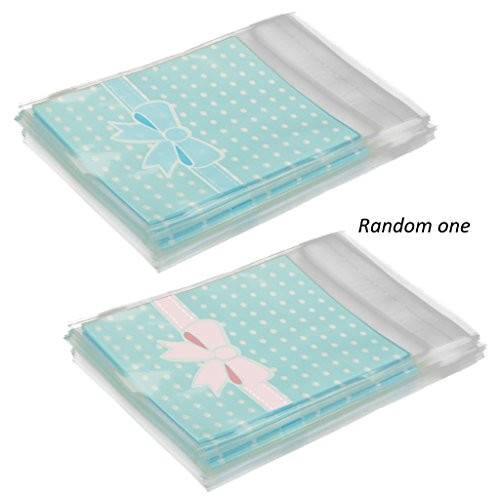 Preisvergleich Produktbild Generic 100pcs Transparent Klein Plastiktütchen Geschenkverpackung Beutel Tasche Weihnachten für Cookie Kekse Snack Süßigkeiten Geschenk Blau