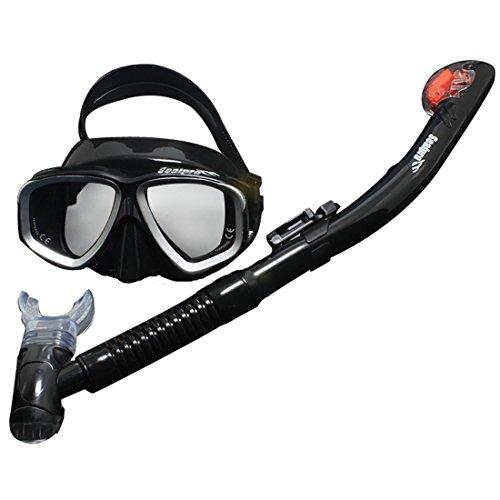 Andux Zone Erwachsene Profi Tauchen Schnorcheln Freitauchen Maske Schnorchelset Qs-j02 (schwarz & grau)