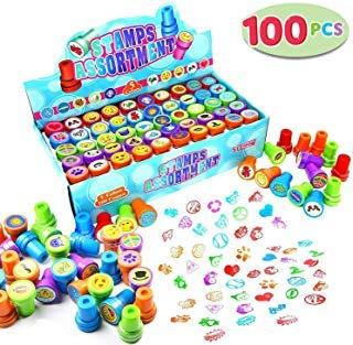 JOYIN 100 Stück Stempelset Stempel Kinder Set, Selbstfärbende Tiere Emoji Dinosaur Stampers -