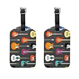 COOSUN Color Acoustic And Electric Guitars Background Luggage Tags Travel Labels Tag Name Card Holder for Baggage Suitcase Bag Backpacks, 2 PCS