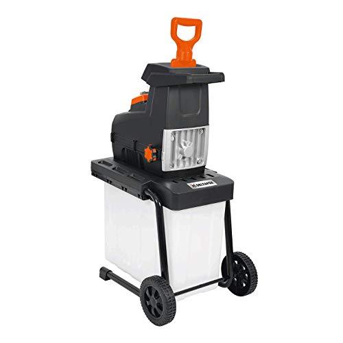 DELTAFOX Elektro Leisehäcksler - 2800 W - inkl. Fangbox - Nachstopfer - Selbsteinzug - Geräuscharm - Schredder bis 44 mm dicke Äste - Gartenhäcksler - Walzenhäcksler