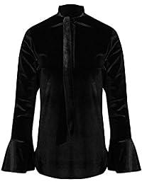 Be Jealous Womens Ladies Front Tie Knot Neck Velvet Velour Bell Sleeve Stretch T Shirt Top UK Plus Size 8-22