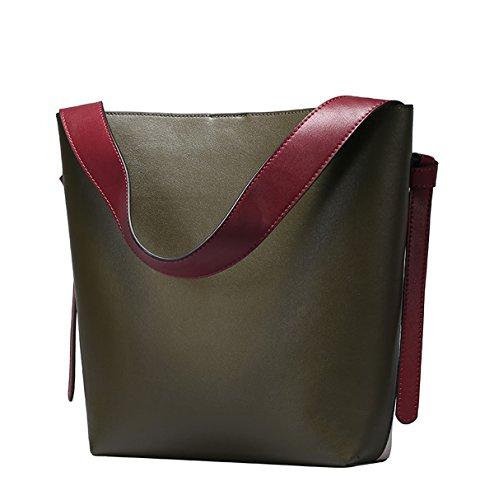 Dissa Q0754 Damen Leder Handtaschen Top Handle Satchel Tote Taschen Schultertaschen,26x10x32 B x T x H (cm) Dunkelgrün