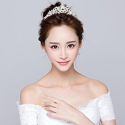 XNHG Coiffure de mariée style coréen Mode Art Bride Couronne Robe de mariée faite à la main centimes décorées Tiara en