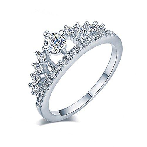 VJGOAL Damen Ring, 2018 Geschenk der Frau Valentine Neue Dame Fashion Gold Ziemlich Krone Kristall Prinzessin Verlobungsring (Größe 7=Durchmesser 17,5mm, Silber)