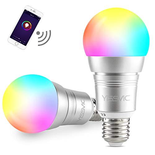 YISSVIC Lampadina Intelligente, 2pcs Lampadina Smart WiFi E27 9W Compatibile con Echo Alexa/Google Home, 32 Bit (16 Milioni) di Colori, Controllo Tramite App (più Luminose) (più Durature)