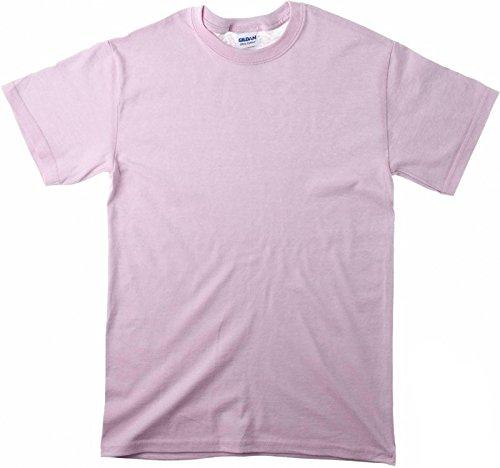 Gildan Ultra Cotton Pullover (Ultra Cotton Herren Basic Elegantes Shirt Tops Kurzarm T-Shirt Sommer Bluse Shirt Kleidung Kurzer Sweatshirt Fashion Tee Kurzarmshirt Kurzaermeliges T-Shirt aus Baumwolle mit Rundhalsausschnitt Rosa-M)