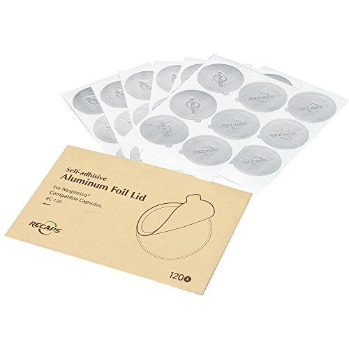 RECAPS Aluminium Espresso Deckel Kompatibel mit wiederverwendbaren Nespresso Kapseln Folienverschluss | Einfach zu Füllen Sie Ihre Eigenen Kapseln mit Unseren Aufkleber Deckel - 120 * Aluminiumdeckel (Espresso-deckel)