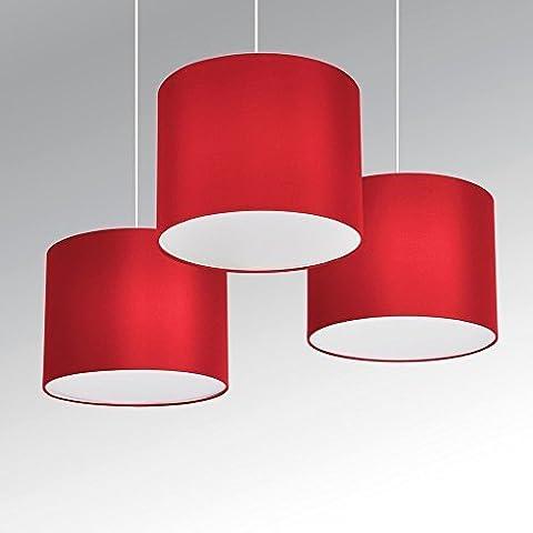 §§ Lot de 3 Suspensions / Lustres - 3 x TAMBOUR Rouge Vibrant, Doublure en blanc. Vendu avec 3 x cache blanc pour un rendu parfait. Cordons électriques compris