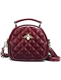 935c5216e4 DCRYWRX Lingge Saddle Bag PU Leather Shoulder Handbag Small Cute Round  Crossbody Bag For Women Hobo