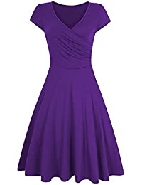 HiQueen Women V-Neck A-Line Fit Flare Swing Party Dress