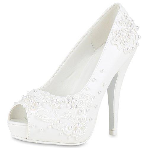 napoli-fashion Damen Brautschuhe Perlen Peeptoes Zierperlen Hochzeit Elegant Schuhe Weiss 41 Jennika (Hochzeit Heels Perlen)