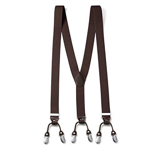 FydRise Herren Y-Form 6 Clips 3.5cm Breit Hosenträger mit Lederriemen Elastisch Längenverstellbar Braun