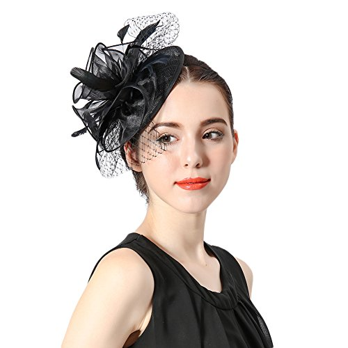 ascinator Cocktail Hatinator Pillbox Hut Hochzeit Haar Clip Hut Stirnband (Cocktail Stirnband Schwarz Hut)