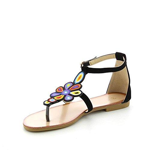 Go Mode - Sandali piatti un fiori multicolor - Donna Nero (nero)