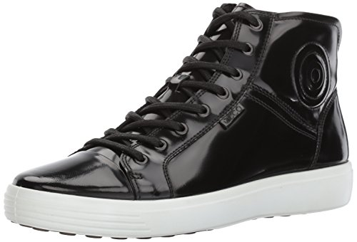 Ecco Mens Soft 7 Premium Boot Fashion Sneaker Black Patent