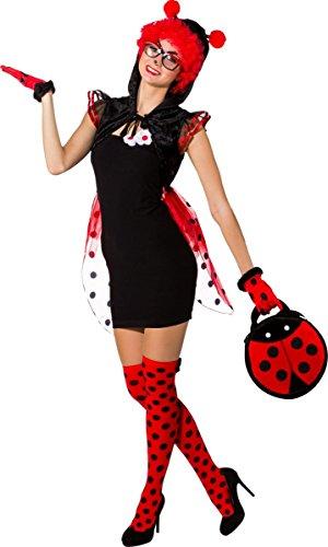 Orlob Damen Kostüm Marienkäfer Cape mit Flügeln Karneval Fasching ()