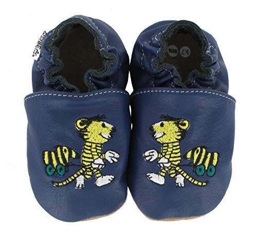HOBEA-Germany Krabbelschuhe Design: Janosch Tiger mit Tigerente, Größe Schuhe:22/23 (18-24 Mon), Uni Schuhe:blau