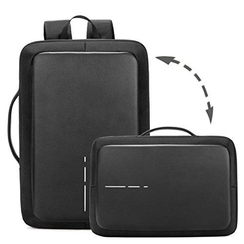 Neuleben Wasserdicht Dual-Diebstahlschutz USB Ladeport Multifunktion Rucksack Handtasche 15.6 Zoll Laptoprucksack Business Aktentasche Reiserucksack Arbeitsrucksack Damen Herren (Schwarz) Laptop Dual Tasche