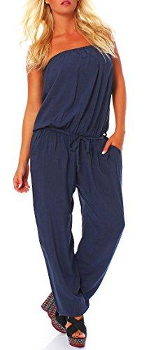 Jumpsuit Einteiler Overall Hosenanzug Uni-Farben 4538 Damen One Size (dunkelblau)