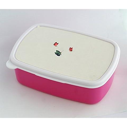 Lunch box with 3 Schmetterling mit weiA em Hintergrund 3 Butterflies with a white background