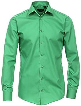 Venti Camicia Verde Tinta Unita 69er Extra Lungo Braccio Slim Fit aderente colletto kent, 100% cotone senza lacci
