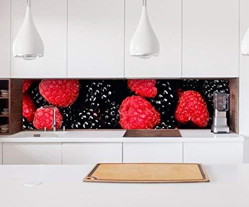 Aufkleber Küchenrückwand Beere Brombeeren Himbeere rot Obst Küche Folie selbstklebend Dekofolie Fliesen Möbelfolie Spritzschutz 22A314, Höhe x Länge:60cm x 400cm