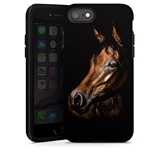 Apple iPhone 8 Plus Silikon Hülle Case Schutzhülle Pferd Horse Braun Tough Case glänzend