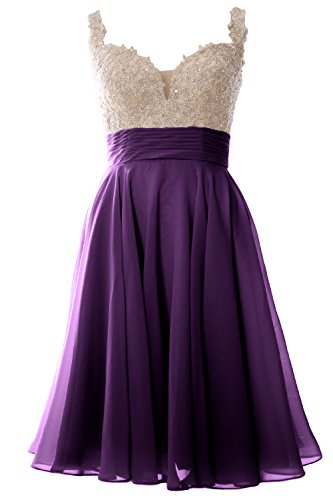 MACloth Women Straps Short Prom Dress Lace Chiffon Wedding Party Formal Gown Eggplant