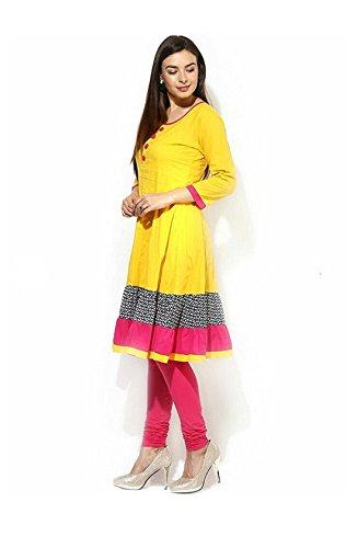 Roop Craft Kurti For Women Softy Cotton and Yellow Color Free Size Kurti(Yellow-Kurti-Semi-Stitch)