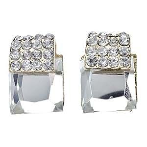 Place Full Diamond Cutting boucle d'oreille en verre d'angle