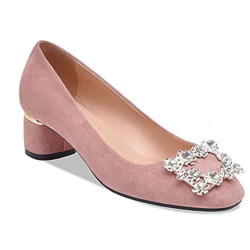 GPFSHOES Damen Chunky High Heels Plateau-Pumps, quadratischer Kopf, Strass-Glitzer, sexy Modus, Hochzeit, Party Schuhe Mary Jane Schuhe, Rose, 41EU -