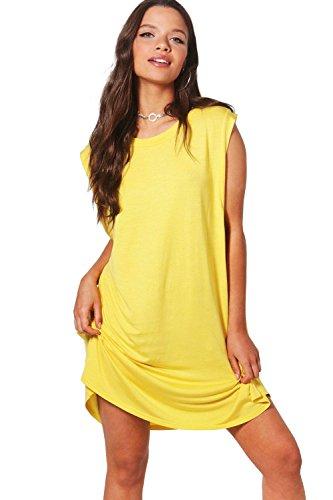 Damen Gelb Freya T-shirt-kleid Mit Tropfenförmigem Armausschnitt Gelb