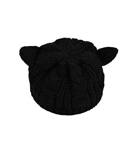 Leisial berretti lavorati a maglia inverno orecchie di gatto cappello lavorato a maglia cappello caldo nero