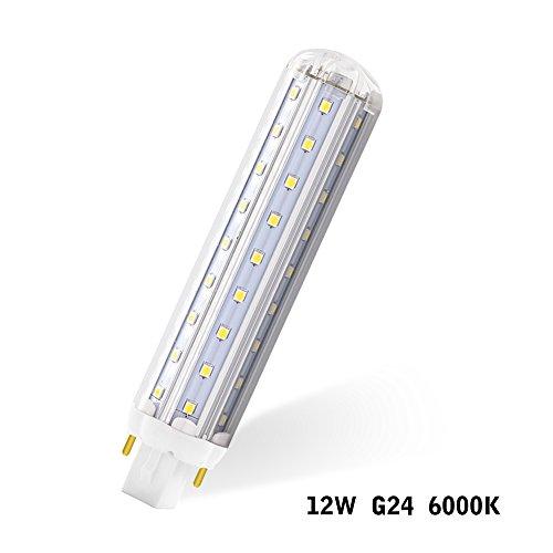 ALOTOA 12W G24 LED maíz luz bombilla, 1300LM 6000K Blanco fresco, viruta del LED de SMD 2835, AC 100-277V, ángulo del haz de 360 grados, para el jardín del patio trasero del taller del almacén