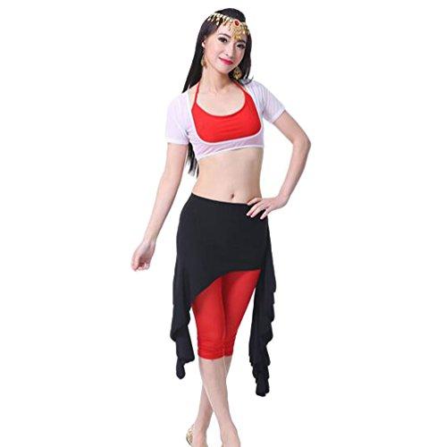 ZhiYuanAN 4Pcs Costume Danse Du Ventre Tops & Soutien-Gorge & Jupe & Pantalon Set Noir