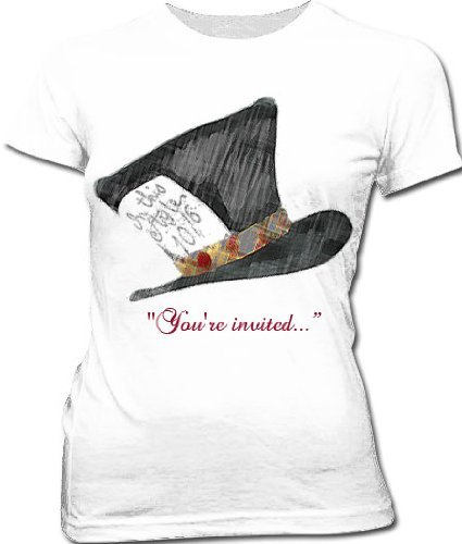 Alice In Wonderland Mad Hatter Hat You're Invited Juniors White T-shirt Tee (Small) (Johnny Depp Mad Hatter)