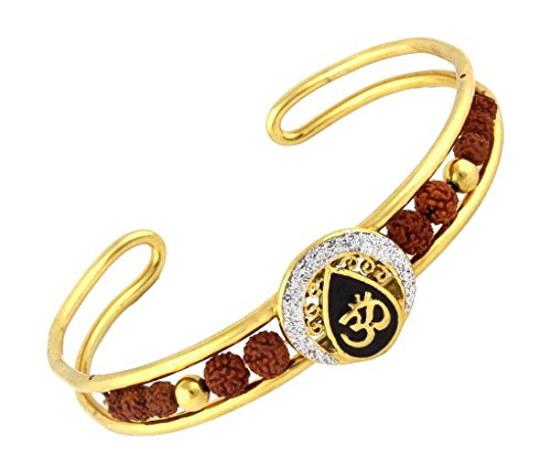 The jewelbox rudraksh om meenakari mens 22K gold plated cuff kada Bracelet for Men