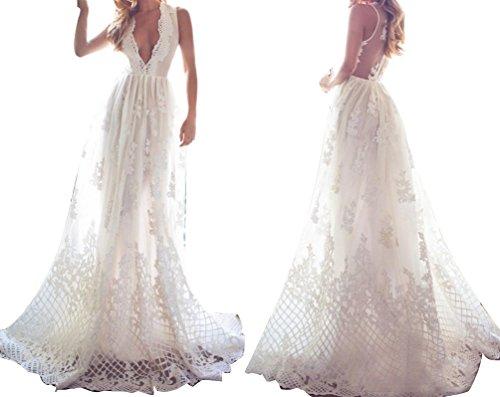 VIKEBRIDAL Damen V-Ausschnitt Ärmellos Spitze Überdachter Knopf Hochzeitskleid Elfenbein 36