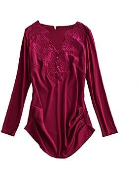 XGMSD Mujer Camisa Floja Sping Otoño Invierno Bordado Basa La Camisa