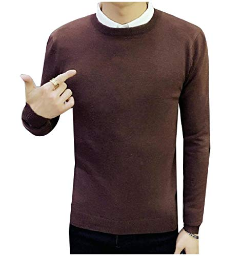 CuteRose Men Regular Fit Pure Colour Long Sleeve Knit Pullover Sweater Coffee XL Elbow Sleeve Hoodie