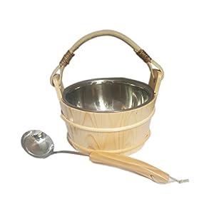 Saunakübel mit Edelstahlschale VA – Saunakelle Saunakübel Saunaeimer Olivenkübel