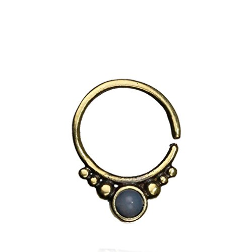 Septum Piercing Nasenring kleine Punkte Mondstein weiß rund Inlay Messing golden